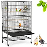 Yaheetech 52-inch Wrought Iron Standing Large Flight Bird Cage for African Grey Quaker Amazon Parrots Cockatiels Sun Parakeets Green Cheek Conures Pigeons Small Parrot Bird Cage with Stand Larger Image