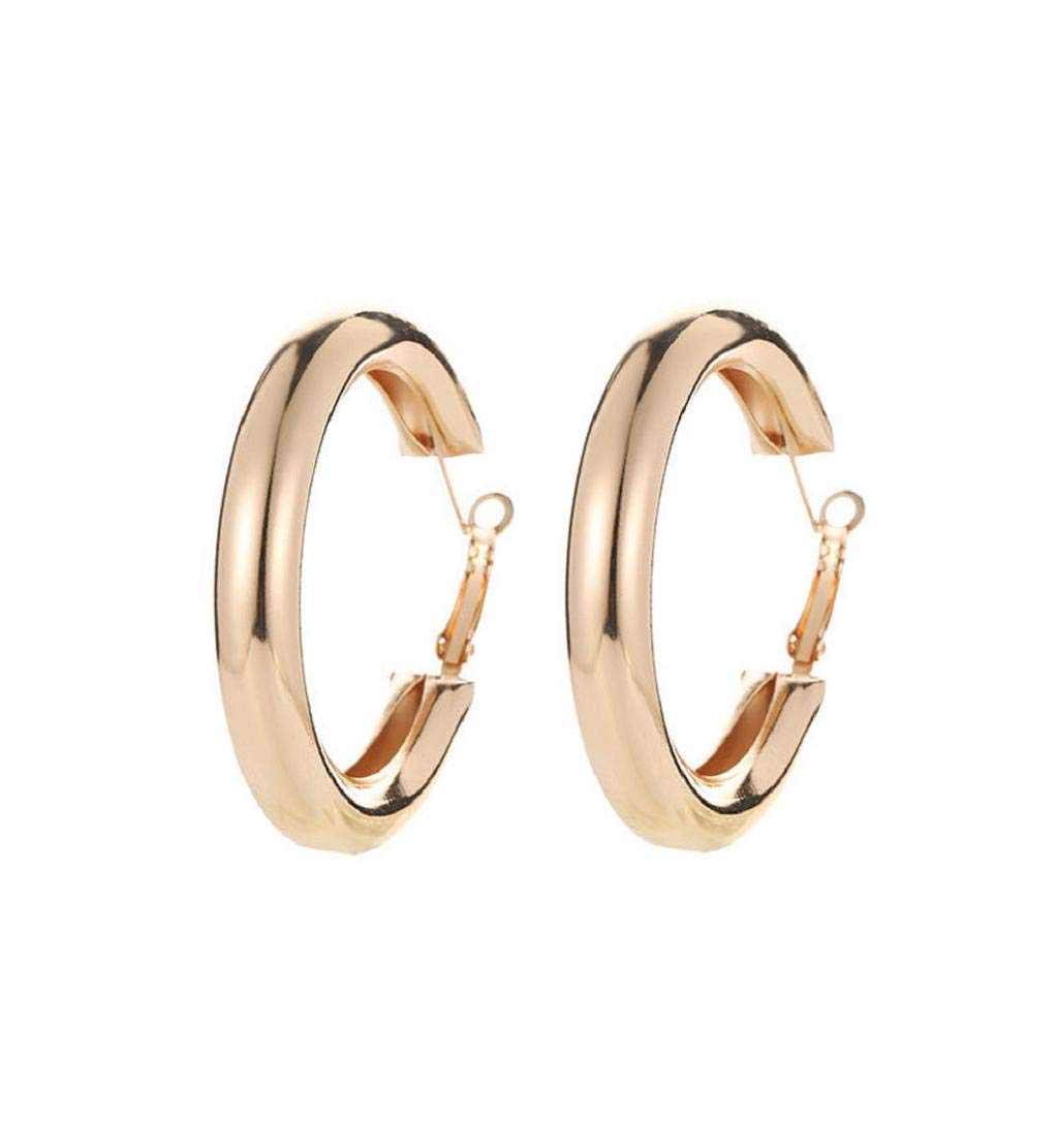 Clearance Sale!DEESEE(TM)Punk Rock Minimalist 50mm Thick Tube Big Gold Alloy Round Circle Hoop Earrings (Gold)
