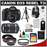 Canon EOS Rebel T3i Digital SLR Camera Body and EF-S 18-55mm IS II Lens with 55-250mm IS Lens + 16GB Card + .45x Wide Angle and 2x Telephoto Lenses + Tripod + Case + Battery + Remote + (2) Filters + Accessory Kit, Best Gadgets