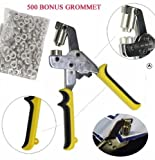 DSM Handheld Hand Press Portable Grommet Machine Hole Punch Tool w/ 500 Silver Grommets Grommets Hand Eyelet Press Hole Punch Tool for Vinyl Banner Sign Piler (Die Set Cannot Be Changed!)