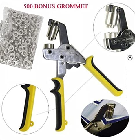 DSM Handheld Hand Press Portable Grommet Machine Hole Punch Tool w/ 500  Silver Grommets Grommets Hand Eyelet Press Hole Punch Tool for Vinyl Banner