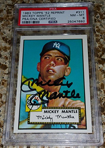 1952 Topps Mantle - Mickey Mantle signed 1952 Topps #311 8 1983 Archive auto Highest Pop - PSA/DNA Certified - Baseball Slabbed Autographed Cards