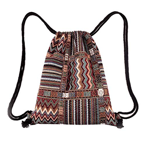 Knit Drawstring Bag - Monique Stripes Jacquard weave Knit Drawstring Bag Sport Backpack Casual Daypack Travel Tote Brown