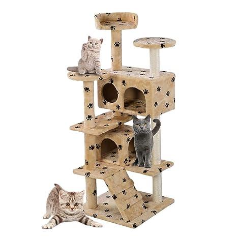 NIKINA Casa de Gato árbol Torre condo Muebles rascador Post Pet ...
