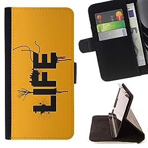 For Sony Xperia Z3 Plus / Z3+ / Sony E6553 (Not Z3) Case , LA VIDA- la tarjeta de Crédito Slots PU Funda de cuero Monedero caso cubierta de piel