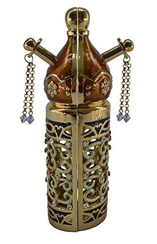 Jewish Jeweled 6 Inch Torah Scroll Stand Holder with Aqua and Citrine Crystals ()