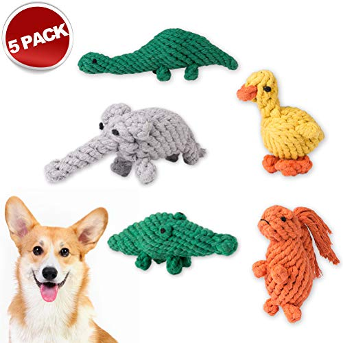 Mihachi 5 Pack Dog Squeaky Rope Toys Cute Animals Design, Cotton Puppy Toys for Puppy Small Dogs