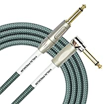Kirlin Cable IWB-202PFGL-20/OL -20 feet- Straight to Right Angle 1/4-Inch Plug Premium Plus Instrument Cable, Olive Green Tweed Woven Jacket