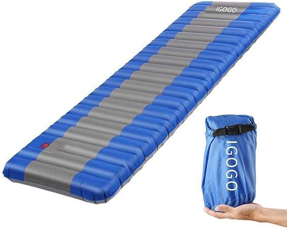 Esterilla Inflable, IGOGO 12 cm Ultraligera Dormir de Acampada Camping Colchón Inflable, Colchones de aire, Resistente a la Humedad Para Viajes, ...