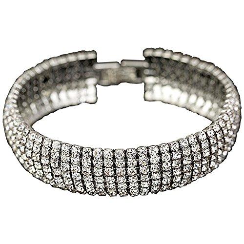 Crystal 6 Row Rhinestone Tennis Bracelet w/ Toggle Clasp - Silver Plated by Foxy Lady Jewelry (Image #1)