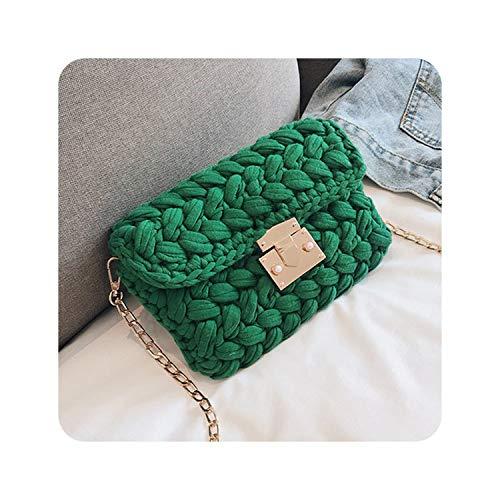 (Heart-To-Heart Woven Knitting Handbag Women Flaps Messenger Bag Cotton Fabric Handmade Plait Cover Shoulder Bag,Green)