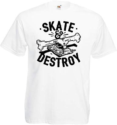 lepni.me Camisetas Hombre ¡Patina y destruye! Regalo para Patinadores, Amantes del Skate: Amazon.es: Ropa y accesorios