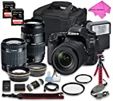 Canon EOS 80D DSLR Camera Bundle with Canon EF-S 18-55mm f/3.5-5.6 IS STM Lens + Tamron Zoom Telephoto AF 70-300mm f/4-5.6 Macro Autofocus Lens + 2 16 GB Memory Card + Camera Case + Free Accessories