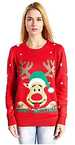 V28 Women's Christmas Reindeer Snowflakes Sweater Pullover (Tag - Ugly Christmas Sweater Funny