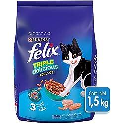 Felix Croquetas para Gato, Triple Delicious Mar, 1.5Kg