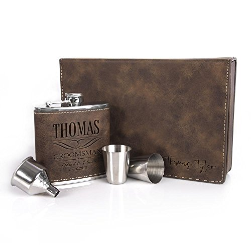 Lily's Atelier Groomsman Gifts For Men and Women, Personalized 5 Piece Flask Set with Engraved Leather Gift Box and 6oz Stainless Steel and Leather Custom Hip Flask Gift Set, StainedLeather_6 - Five Piece Gift Box