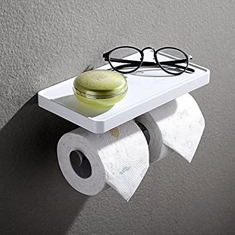 Doxwater F30311 Toilet Paper Holder with Shelf - White - Nickel Recessed Toilet Paper Holder