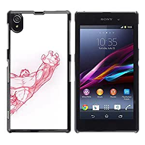 A-type Arte & diseño plástico duro Fundas Cover Cubre Hard Case Cover para Sony Xperia Z1 L39 (Muscle Bodybuilding Arm Strength Red)
