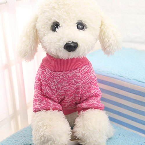 Product image of HP95(TM) Small-Size Dog Sweater Small Pet Dog Classic Sweater Woolen Sweater Puppy Warm Clothes (S(Bust:30cm/11.8''), Hot Pink)