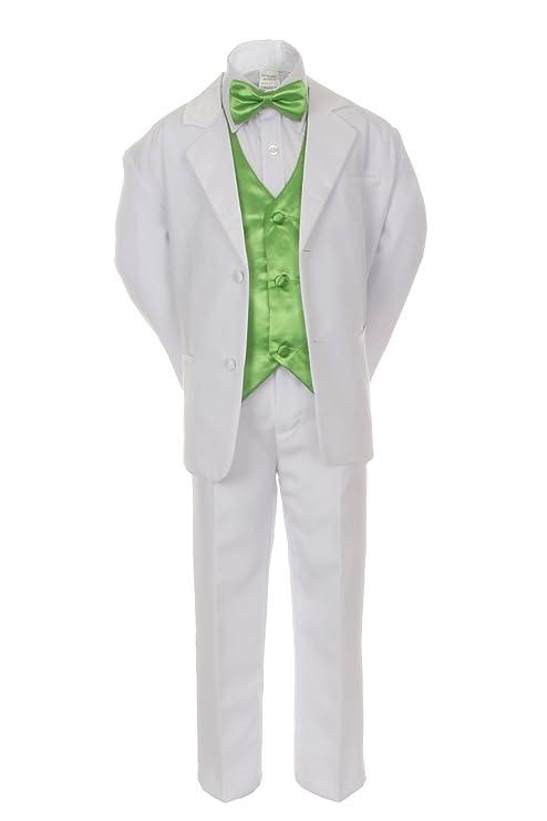 Unotux 7pcs Boys White Suit Tuxedo with Satin Lime Green Bow Tie Vest Set (S-20)