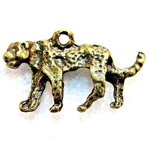 50Pcs. Wholesale Tibetan Antique Bronze Tiger Panther Charm Pendants Drops Q1175 Crafting Key Chain Bracelet Necklace Jewelry Accessories Pendants