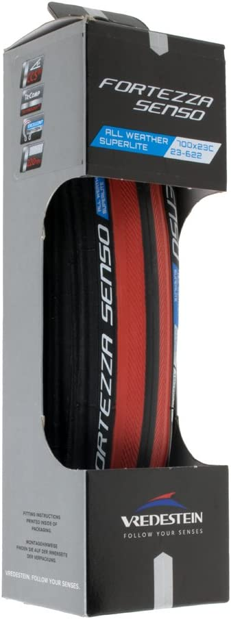 New pair Vredestein Fortezzo Senso 700x23c Folding Black  clincher tires