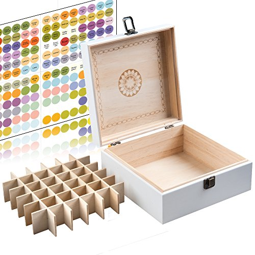 Alder Boxes (Beautiful White Essential Oil Box 36 Bottle - Holds 5-15ml &10ml Roller Bottles - Free Roller Bottle Opener & 192 Essential Oil Labels)