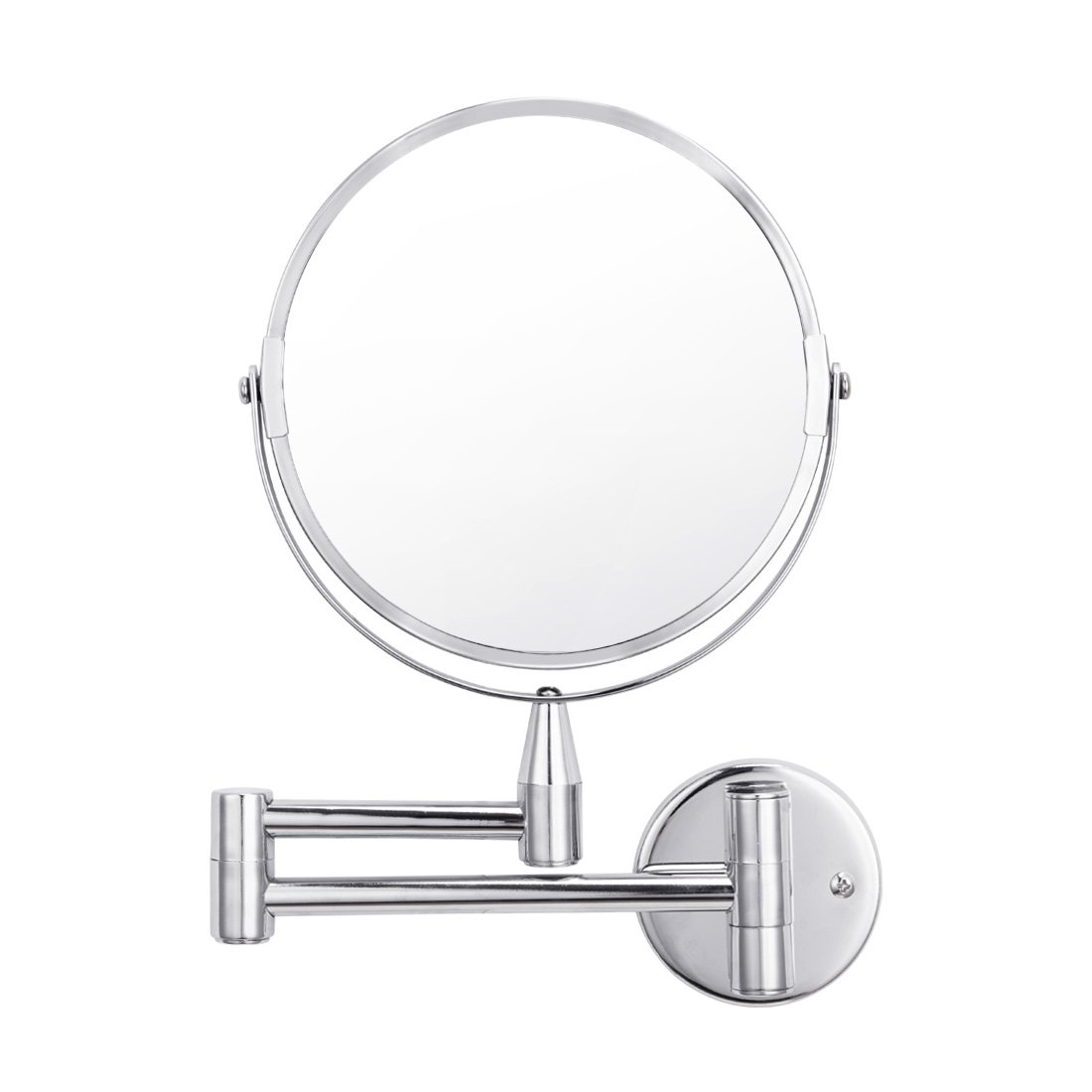 Wall Mounted Makeup Magnifying Mirror 1X 5X Magnification Vanity Extendable Double Sided 360 Degrees Swivel Chrome Finished Mirrors for Bedroom Bathroom Hotel