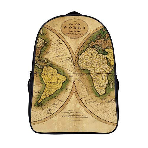Atlas World Map Shoulders Backpack Leisure Two Zippered Compartments Book Bag For Boys And Girls Atlas Ultra Book Holder