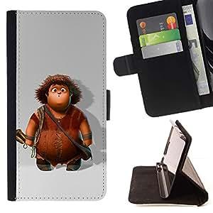 Momo Phone Case / Flip Funda de Cuero Case Cover - Personaje de dibujos animados Boy Caveman - Apple Iphone 5C