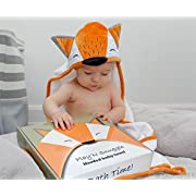 Baby Flö Hooded Baby Towel -100% Cotton Bath Towel with Cute & Adorable Fox Hood - Soft, Breathable, Super Absorbent & Hypoallergenic - Perfect Baby Shower Gift - 34 x 34 Inches