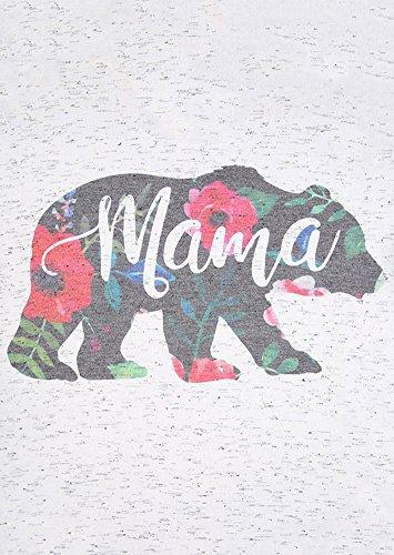 Womens-Mama-Bear-Floral-Printed-Short-Sleeve-V-Neck-T-Shirt