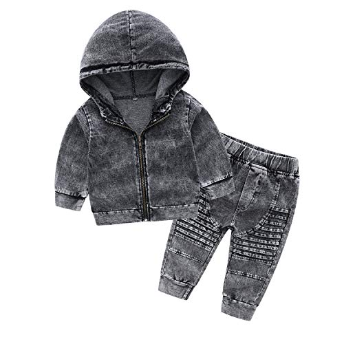 Kimocat Fashion 2pcs Toddler West Cowboys Style Baby Boy Zipper Denim Jacket & Jeans Set (Grey, 4T/120)