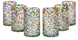 MEXART Artisan Crafted Multicolor Confetti Hand Blown Recycled Glass Cocktail Glasses, 14 oz, Confetti' (set of 6)