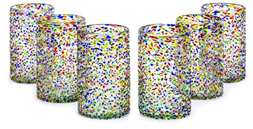 - MEXART Artisan Crafted Multicolor Confetti Hand Blown Recycled Glass Cocktail Glasses, 14 oz, Confetti' (set of 6)