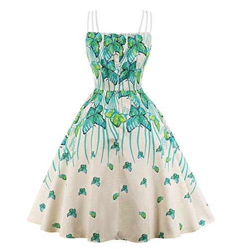 Bevalsa Vintage Courte Impression de Swing Vert 1950 Bal Boutons Dress Manche sans Party Robe Rockabilly Femme Grande Taille Audrey anne Soire Rtro Style Hepburn avec r8qr0X