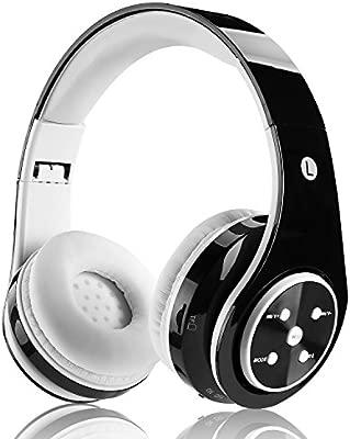 FTSM - Auriculares de diadema cerrado inalámbricos con bluetooth (recargables, plegables, micrófono integrado, incluyen cable USB de carga, puerto ...