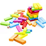 Stacking Game, 51pcs Colorful Wooden Tumbling Tower Building Blocks for Kids with Storage Bag