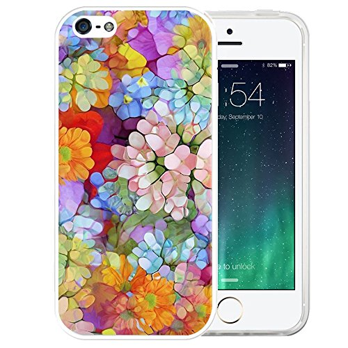 iPhone SE Case, LAACO Beautiful Clear TPU Case Rubber Silicone Skin Cover for iPhone 5/5S/SE - HD Clear floral design