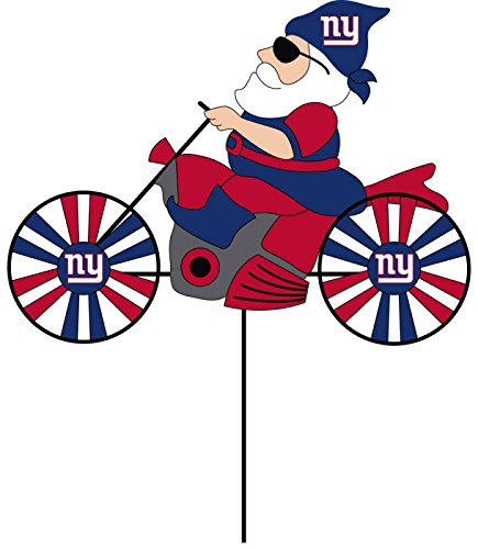 NFL New York Giants Motorcycle Gnome Outdoor Wind Spinner Garden Stake