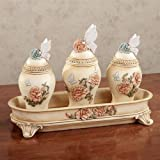 Touch of Class Peony Garden Covered Jars and Tray Set Multi Pastel Set of Four