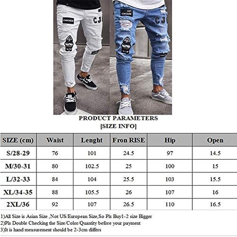 QMGLBG XXL Größe/Męskie elastisch zerrissen eng anliegende Lokomotive Stickerei Bedruckte Jeans zerstört ruinierte Slim Fit Denim Jeans: Küche & Haushalt