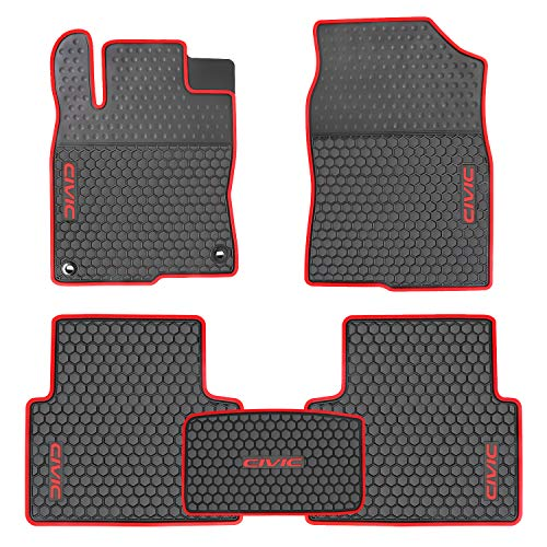 (Ucaskin Car Floor Mat Liners Custom Fit for Honda Civic 10th 2016 2017 2018 2019 Rubber All Weather Black Red Heavy Duty Mats Set Auto Liner Front Rear Protection Odorless Easy Clean)