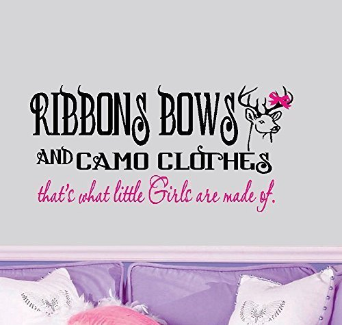 Ribbons-Bows-and-Camo-Clothes-Wall-Decal-13-x-28-BlackPink-or-Color-Option-By-Starlight-Decals