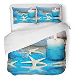 Emvency 3 Piece Duvet Cover Set Breathable Brushed Microfiber Fabric Sea Blue Spa with Candle and Seastar Seashell Aromatherapy Salt Seasalt Star Bedding Set with 2 Pillow Covers Twin Size