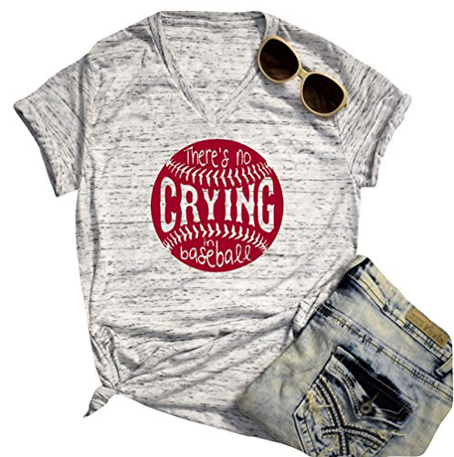There's No Crying in Baseball Funny T-Shirt Women Casual Short Sleeve Tee Blouse (Light Gray, M) ()