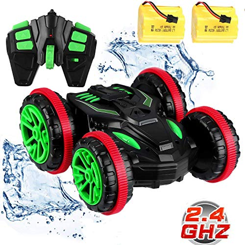 Blexy RC Stunt Car Remote Control Car Boat 4WD 6CH 2.4Ghz Off Road Electric Racing Vehicle 360° Spins & Flips Land Water Multifunction Amphibious - Racing Control Car Rc