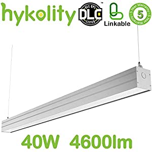 Hykolity 4FT 40W Linkable LED Architectural Suspended Linear Channel Light, Contemporary Design Style Lighting Fixture For Offices, Studios And Commercial Places, 4600lm 5000K Daylight
