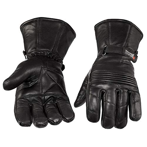 NEW PRODUCT Viking Cycle Men's Premium Leather Gauntlet Motorcycle Cruiser Gloves (Medium)