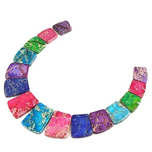 Beads Jasper Pendant Necklace (Large Ladder Shaped Gemstone Pendant Graduated Beads Set for Necklace Design 13